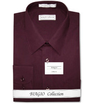 Biagio Men's 100% COTTON Solid BURGUNDY Color Dress Shirt w/ Convertible Cuffs
