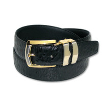 Ostrich Pattern Black Bonded Leather Mens Belt Gold-Tone Buckle