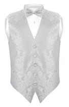 Mens Paisley Slim Fit Dress Vest Bow Tie Silver Grey BowTie Hanky Set