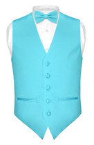 Mens Slim Fit Dress Vest BowTie Turquoise Aqua Blue Bow Tie Hanky Set