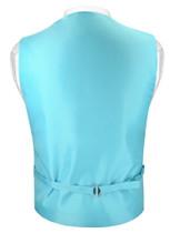 Mens SLIM FIT Dress Vest BowTie TURQUOISE AQUA BLUE Bow Tie Handkerchief Set