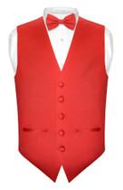 Mens SLIM FIT Dress Vest BowTie Solid RED Color Bow Tie Handkerchief Set