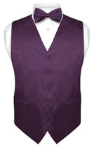 Men's Paisley SLIM FIT Dress Vest Bow Tie DARK PURPLE BOWTie Handkerchief Set