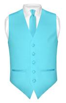 Slim Fit Turquoise Blue Vest   Mens Dress Vest NeckTie Hanky Set