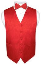 Men's Paisley Design Dress Vest & Bow Tie RED Color BOWTie Set for Suit Tuxedo