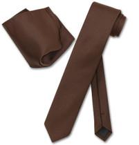 Vesuvio Napoli Chocolate Brown Skinny NeckTie Handkerchief Men Tie Set