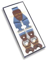 Men's Blue JEANS Design SUSPENDERS Y Shape Back Elastic Button & Clip Convertible