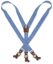 Mens Blue Jeans Suspenders Y Shape Back Button & Clip Convertible