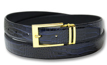 Biagio Croc Embossed NAVY BLUE Men's Bonded Leather Belt Gold-Tone Buckle