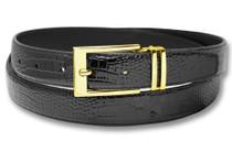Biagio Croc Embossed Black Mens Bonded Leather Belt Gold-Tone Buckle