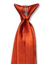 Biagio Clip-On NeckTie Solid Burnt Orange Color Mens Neck Tie