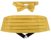 Cumberbund BowTie Gold Color Paisley Design Men Cummerbund Bow Tie Set