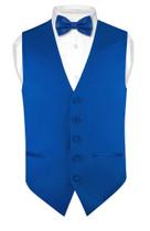 Mens Slim Fit Vest BowTie Royal Blue Bow Tie Handkerchief Set