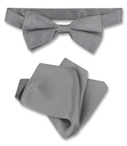 Charcoal Grey Bow Tie Handkerchief Set | Silk BowTie Hanky Set