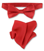 Rose Red Bow Tie And Handkerchief Set | Silk BowTie Hanky Set