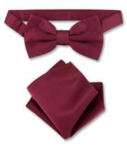 Burgundy Bow Tie And Handkerchief Set | Mens Bowtie Hanky Set