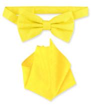 Yellow Paisley Bow Tie Handkerchief Set | Mens BowTie Hanky Set