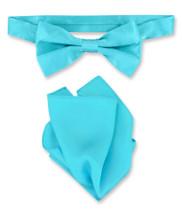 Turquoise Blue Bow Tie Handkerchief Set | Silk BowTie Hanky Set
