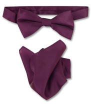 Eggplant Purple Bow Tie Handkerchief Set   Silk BowTie Hanky Set