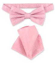 Pink Paisley Bow Tie Handkerchief Set | Mens BowTie Hanky Set