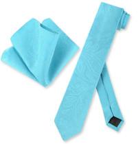 Mens Turquoise Blue Paisley Skinny Tie Hanky Set | Necktie Set