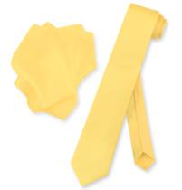 """Biagio 100% Silk Skinny NeckTie Solid Gold Color Mens 2.5"""" Neck Tie Handkerchief"""