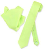Lime Green Skinny Tie And Handkerchief Set | Silk Tie Hanky Set