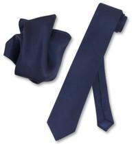 Navy Blue Skinny Tie And Handkerchief Set   Silk Necktie Hanky Set