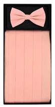 SILK Cumberbund & BowTie Solid PINK Color Men's Cummerbund Bow Tie Set