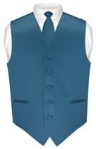 Mens Dress Vest Skinny NeckTie Solid Blue Sapphire Neck Tie Set
