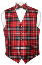 Mens Plaid Vest & Bow Tie Set | Black Red White Plaid Pattern Set