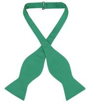 Vesuvio Napoli Self Tie Bow Tie Solid Emerald Green Mens BowTie