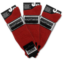 Solid Maroon Color Mens Socks | 3 Pair of Biagio Cotton Dress Socks