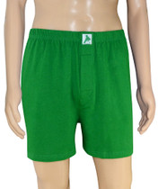 Biagio Mens Solid Emerald Green Color BOXER 100% Knit Cotton Shorts