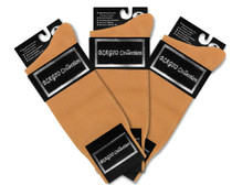 3 Pair of Biagio Solid GOLD Color Men's COTTON Dress SOCKS