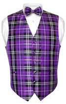 Mens Plaid Design Dress Vest & BowTie Purple Black White Bow Tie Set