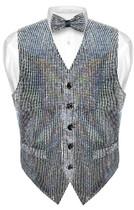 Mens SEQUIN Design Dress Vest & Bow Tie Silver Color BowTie Set