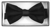 100% SILK BOWTIE SOLID BLACK Color Men's Bow Tie for Tuxedo or Suit