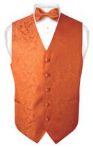 Mens Paisley Design Dress Vest & Bow Tie Burnt Orange Color BowTie Set