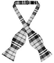 Vesuvio Napoli Self Tie BowTie Black Gray White Plaid Mens Bow Tie