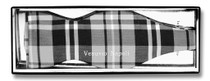 Vesuvio Napoli SELF TIE BowTie Black Gray White Color PLAID Design Men's Bow Tie