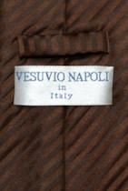 Vesuvio Napoli NeckTie CHOCOLATE BROWN Vertical Stripes Design Men's Neck Tie