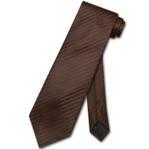 Vesuvio Napoli NeckTie Chocolate Brown Vertical Stripe Mens Neck Tie