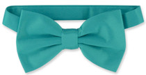 Mens Dress Vest & BowTie Solid Teal Color Bow Tie Set