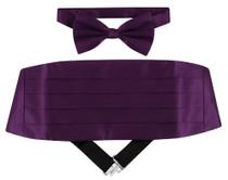 Cumberbund And Bow Tie | Dark Purple Cumberbund Bow Tie Set