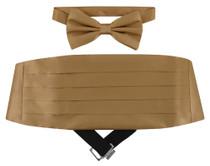 SILK Cumberbund & BowTie Solid BEIGE LIGHT BROWN Men's Cummerbund Bow Tie Set