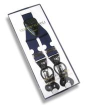 Mens Navy Blue Suspenders Y Shape Back Button & Clip Convertible