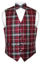 Mens Plaid Design Dress Vest & BowTie Black Burgundy White Bow Tie Set