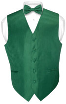Mens Dress Vest BowTie Emerald Green Color Vertical Stripe Bow Tie Set