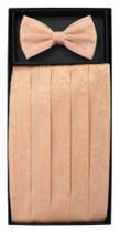 Cumberbund & BowTie PEACH Color PAISLEY Design Men's Cummerbund Bow Tie Set